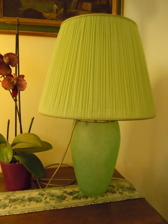 Lampada vetro con paralume plissato