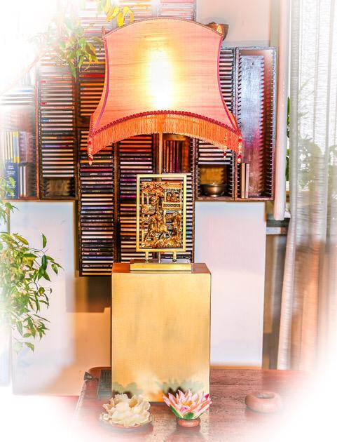 Paralume a pagoda rettangolare in seta