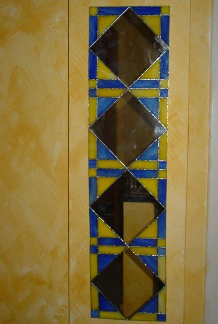 Specchio in vero Tiffany giallo e blu