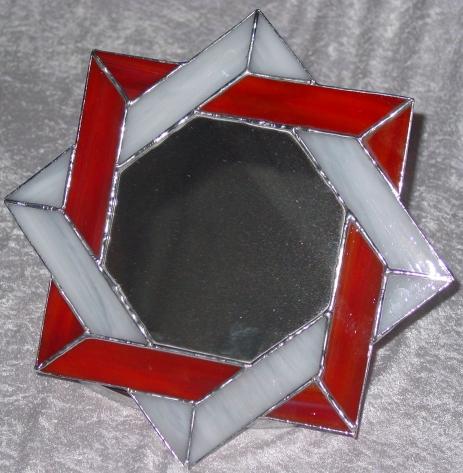 Specchio vetro tiffany rosso
